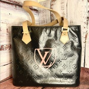 Louis Vuitton Black Houston Bag Custom Painted